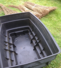 Plastic tub used for soaking willow